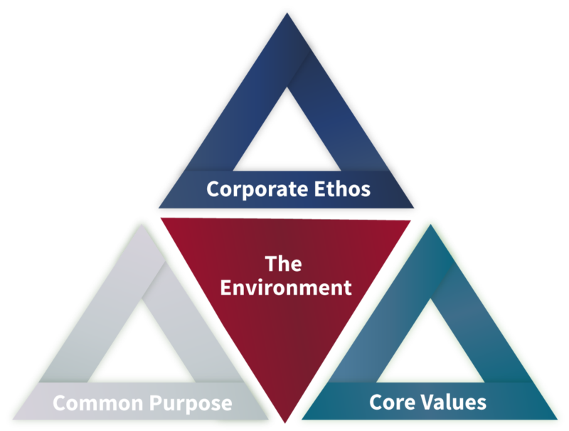 CSA Environment Triangle Map with Corporate Ethos, Shared Purpose and Core Values at each corner.