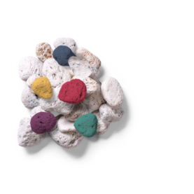 Pile of white Rocks with colored rocks